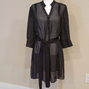 LANE BRYANT Sheer Belted Tunic Top 18 20